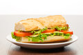 Tomato, cheese and salad sandwich from fresh baguette on white ceramic plate on bright light brown wooden table Royalty Free Stock Photo