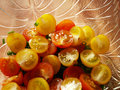 Tomato close up red and yellow cheries Royalty Free Stock Photos