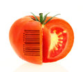 Tomato coded to represent product identification Royalty Free Stock Photos