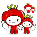 Tomato couple characters to promote vegetable selling character design series Stock Images