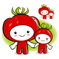 Tomato couple characters to promote vegetable selling vegetable character design series Stock Photography
