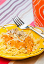 Tomato cream pasta with cheese Royalty Free Stock Images