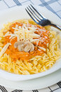 Tomato cream pasta with cheese Stock Photos