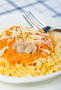Tomato cream pasta with cheese Stock Photo