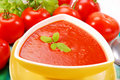 Tomato cream soup with basil Royalty Free Stock Photography