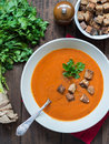 Tomato cream soup with wholemeal croutons Royalty Free Stock Photo