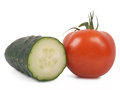 Tomato and cucumber isolated on white background Stock Photos