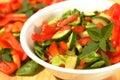 Tomato and cucumber salad closeup Stock Photo