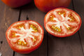 Tomato cut in half close up Royalty Free Stock Photo