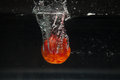 Tomato falling in water Royalty Free Stock Photo