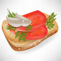 Tomato and garlic on bread slice Stock Photography