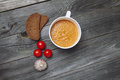 Tomato gazpacho soup with bread and garlic in white bowl on gray Royalty Free Stock Photo
