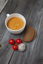Tomato gazpacho soup with bread and garlic in white bowl Royalty Free Stock Photo