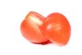Tomato halves on white background Royalty Free Stock Image