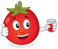 Tomato holding a fresh squeezed juice cute cartoon character with thumbs up and glass with isolated on white background eps Royalty Free Stock Photography