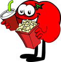 Tomato holding popcorn and soft drink cartoon style illustrated vector format is available Royalty Free Stock Images