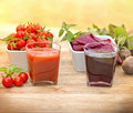 Tomato juice and beet juice glass of Stock Image