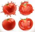 Tomato juice. Fresh vegetable. Vector icon set