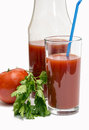 Tomato juice in a glass. Royalty Free Stock Photo
