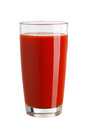 Tomato juice in a glass isolated on white background Royalty Free Stock Photo