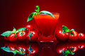 Tomato juice on red background Royalty Free Stock Photo