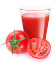 Tomato juice with ripe tomato Stock Photography