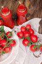 Tomato juice tomato smoothie healthy beverage refreshing drink in jar on rustic table Stock Photo