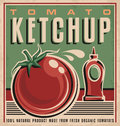 Tomato ketchup retro design concept vintage poster for fresh organic food Stock Images