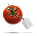 Tomato with  label Stock Photos