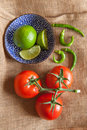Tomato lime and chill on the table Royalty Free Stock Photos