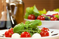 Tomato Mozarella Rocket Salad With Olive Oil Stock Photos