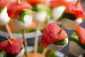 Tomato mozzarella skewer and other freh finger food. Royalty Free Stock Photo