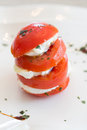 Tomato mozzarella view of an italian specialty starter with and Stock Image
