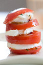 Tomato mozzarella view of an italian specialty starter with and side view Stock Image