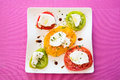 Tomato mozzarella view of an italian specialty starter with and top view this particular starter is made with ancien Royalty Free Stock Images
