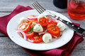 Tomato onion and mozzarella cheese on a white plate healthy food Royalty Free Stock Images
