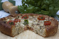 Tomato pie a whole topped with cheese green onions and parsley with herbs in the backgrounda whole topped with cheese Stock Image
