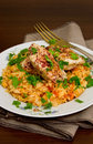 Tomato pilaf with chicken and sumac Stock Photos