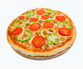 Tomato pizza with pepper. Stock Photo