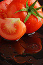 Tomato reflection Stock Images