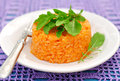 Tomato rice with rocket leaves Stock Photo