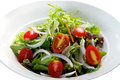 Tomato salad delicious green in the white plate Stock Photography