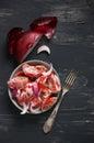 Tomato salad with sour cream Royalty Free Stock Photo