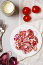 Tomato salad with sour cream Royalty Free Stock Photo