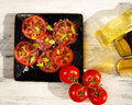 Tomato sald salad with olive oil salad Royalty Free Stock Photography