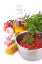 Tomato sauce and ingredient on white Royalty Free Stock Image