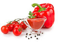 Tomato sauce ketchup in bowl on white background Royalty Free Stock Photo