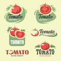 Tomato set of labels and symbols in vector Stock Photo