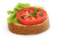 Tomato and a slice of whole wheat bread curly onion pieces Royalty Free Stock Photos