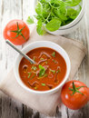 Tomato soup with basil Stock Photos